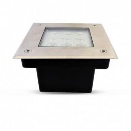 Spot LED Encastre Sol Carré Inox 316L 9W