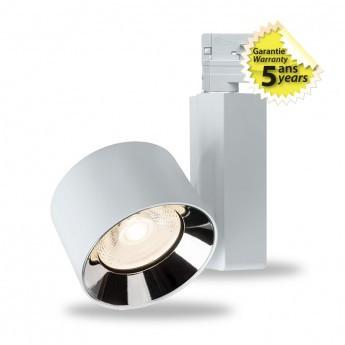 Spot LED sur Rail avec Adaptateur 3 allumages Blanc 20W 4000°K GARANTIE 5 ANS