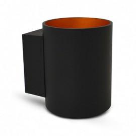 Applique Murale LED G9 X1 Noir/Doré Cylindrique