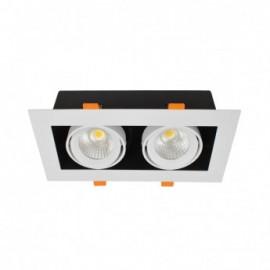 SPOT CARDAN LED BLANC ORIENTABLE 2X10 WATT 3000K 2X800 LM BOITE