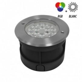 Spot LED Encastrable Sol Rond 9W RGB+W Inox 304